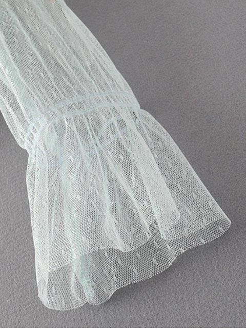 Top brodé floral avec des empiècements en tulle - Vert clair M Mobile