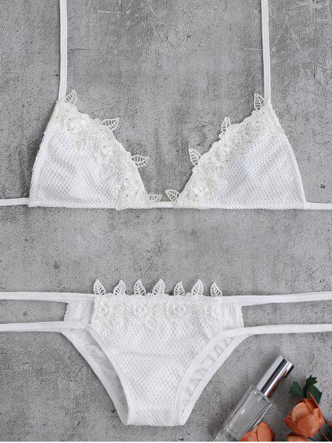 shops Lace Halter Crochet Bikini Set - WHITE ONE SIZE(FIT SIZE XS TO M) Mobile