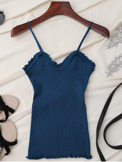 fancy Ruffle Trim Knit Tank Top - BLUE ONE SIZE Mobile