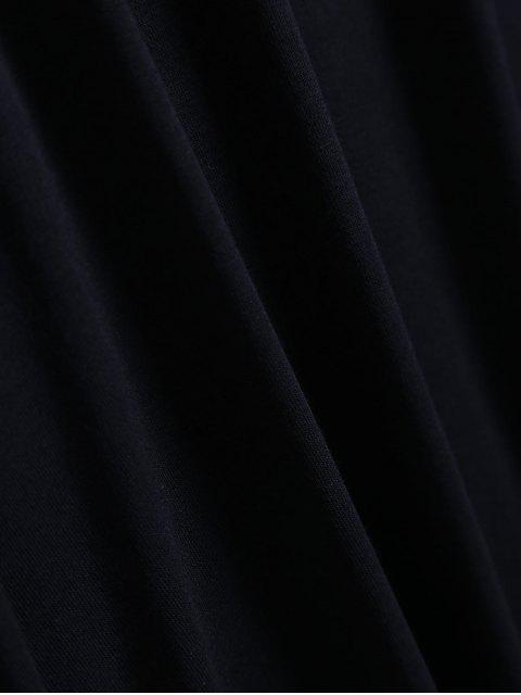 outfit Cold Shoulder Ruffle T-Shirt Dress - BLACK M Mobile