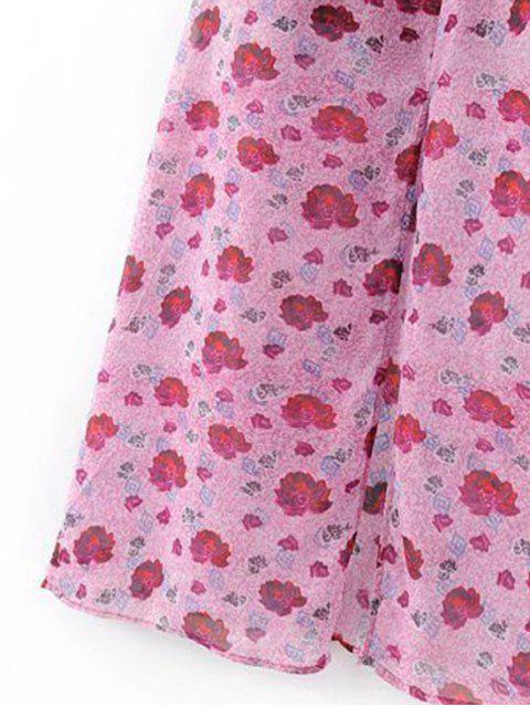 chic Slit Floral Beach Dress - PURPLISH RED S Mobile