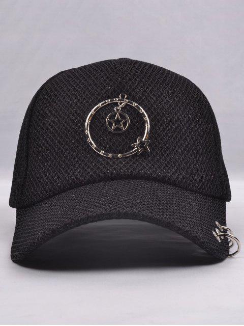 Casquette de base-ball embellie d'étoile et de cercles métalliques - Noir  Mobile