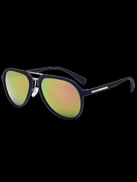 Ombre Anti UV Metal Crossbar Reflective Gafas de sol - Amarillo + Púrpura  Mobile