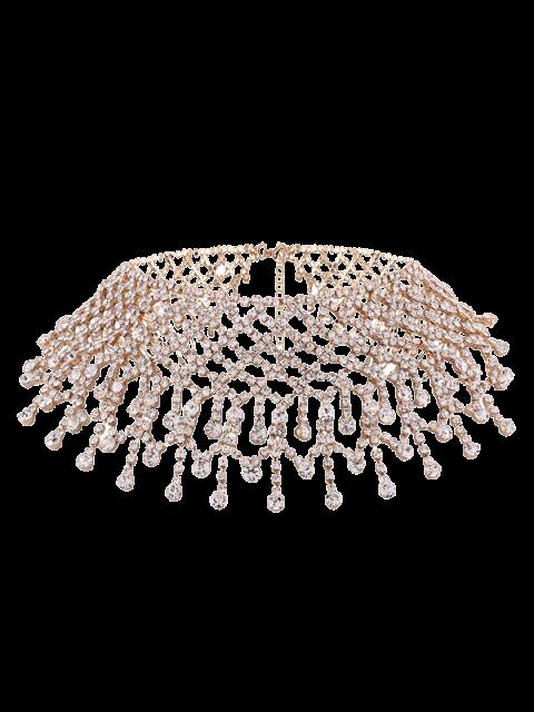 Halskette aus Legierung mit Strass und Quaste - Golden  Mobile