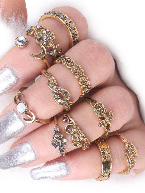lady Rose Flower Leaf Moon Alloy Ring Set -   Mobile