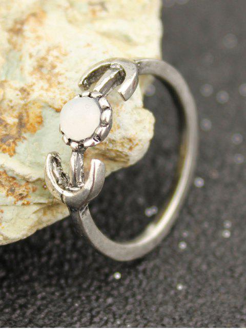 best Rose Flower Leaf Moon Alloy Ring Set - SILVER  Mobile