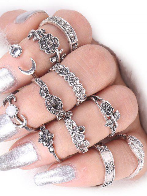 Ring Set aus Legierungs mit Blatt-Mond-Rosen-Blumen - Silber  Mobile