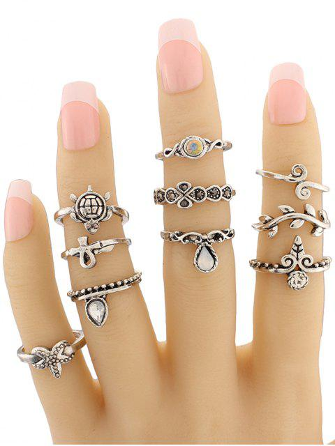 new Tortoise Starfish Leaf Teardrop Alloy Ring Set - SILVER  Mobile