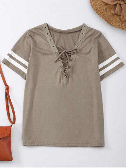 hot Lace Up T-Shirt With Stripe - KHAKI XL Mobile