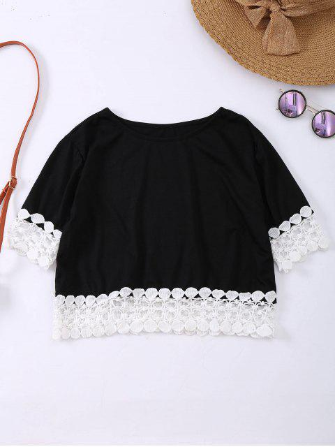 Oversized Lace Hem Crop Tee - Schwarz S Mobile