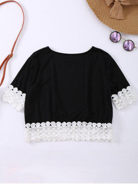 fancy Oversized Lace Hem Crop Tee - BLACK M Mobile