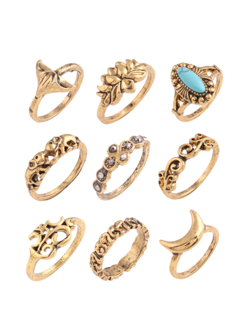 trendy Artificial Turquoise Moon Elephant Alloy Ring Set -   Mobile
