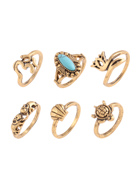 Faux Turquoise Tortoise Elephant Alloy Ring Set - Or  Mobile