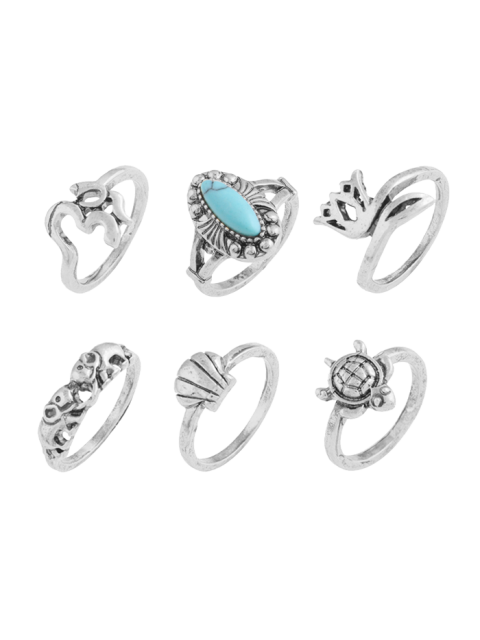latest Faux Turquoise Tortoise Elephant Alloy Ring Set - SILVER  Mobile