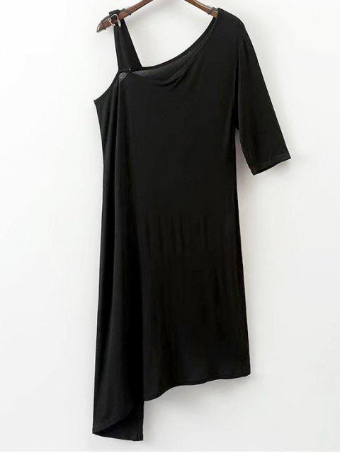 latest Asymmetrical Cold Shoulder Top - BLACK L Mobile