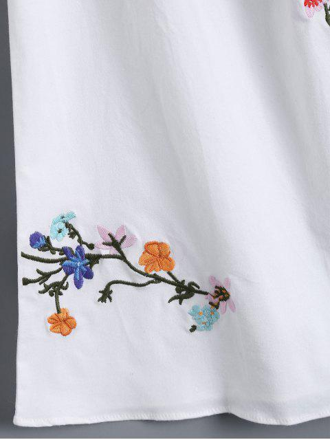 fancy Off Shoulder Flower Embroidered Smocked Top - WHITE M Mobile