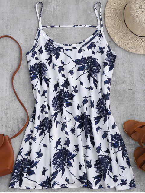 lady Spaghetti Straps Floral Chiffon Flowy Dress - WHITE S Mobile