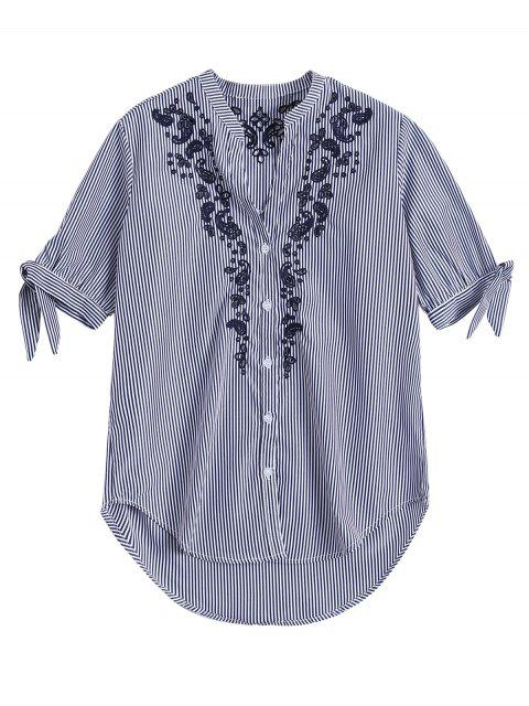 affordable Hollow Out Embroidered Striped Shirt - BLUE STRIPE M Mobile