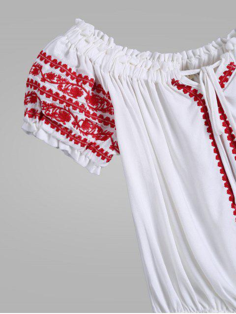 ladies Embroidered Tie Neck Crop Ruffle Top - WHITE S Mobile