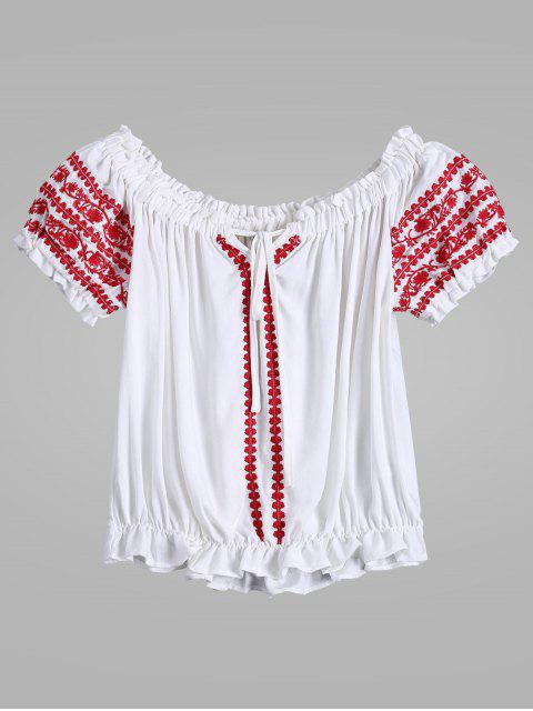 best Embroidered Tie Neck Crop Ruffle Top - WHITE L Mobile