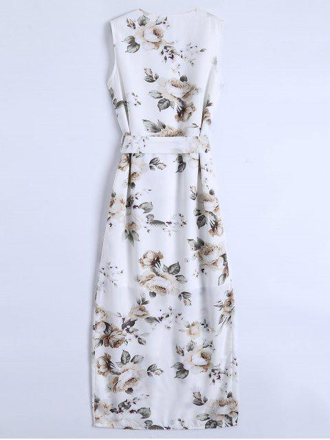 women Slit Sleeveless V Neck Floral Maxi Dress - WHITE L Mobile