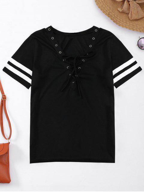online Lace Up T-Shirt With Stripe - BLACK L Mobile