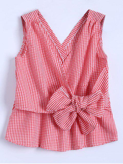 fashion Sleeveless Plaid Wrap Bowknot Blouse - RED L Mobile
