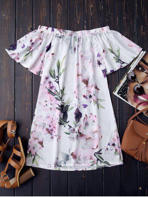 Vestido Retro de Flores con Hombros al Aire - Blanco L Mobile