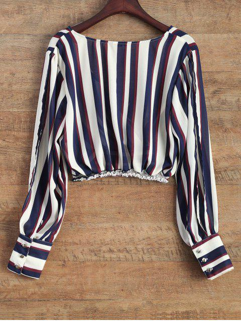 outfit Striped Slit Sleeve Cropped Surplice Blouse - STRIPE L Mobile