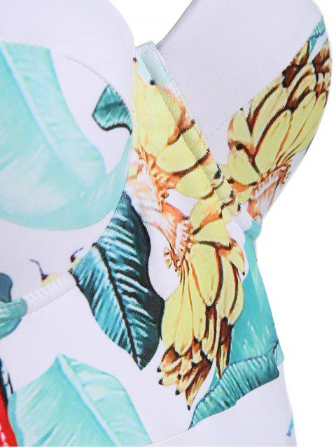 latest Palm Leaf Print Padded Plus Size Swimsuit - WHITE 3XL Mobile