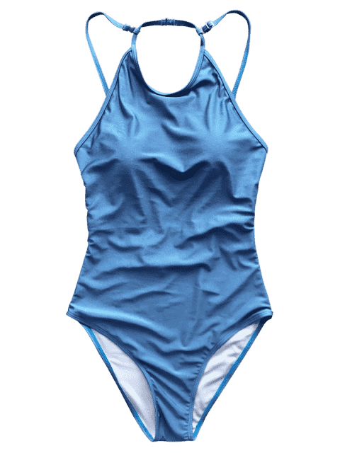 fancy Open Back High Neck One Piece Swimsuit - BLUE L Mobile
