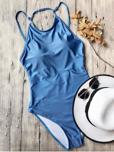 unique Open Back High Neck One Piece Swimsuit - BLUE M Mobile