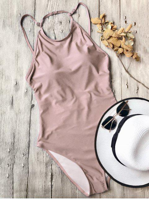 trendy Open Back High Neck One Piece Swimsuit - PINK L Mobile