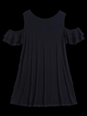 Vestido De Camiseta Fruncido Fuera Del Hombro - Negro Xl