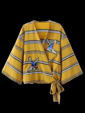 Patched Rayas Envolver La Blusa - Amarillo L