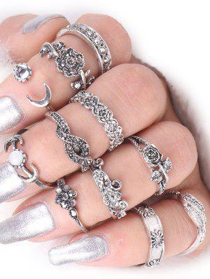 Ring Set aus Legierungs mit Blatt-Mond-Rosen-Blumen
