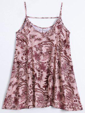 Slip Imprimir Flowy Vestido De Verano - Multicolor S