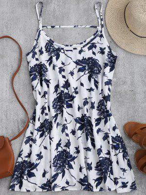 Vestido Fluido De Gasa Con Estampado De Flores Con Tirantes Finos - Blanco S
