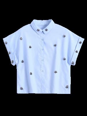 Metal Flower Embellished Button Up Shirt - Blue S