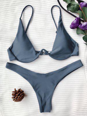 Push Up Plunge Bathing Suit - Gray S