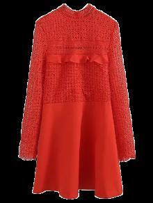 Lace Panel Cut Out A-line Dress - Red L