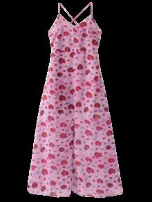 Slit Floral Beach Dress - Purplish Red S