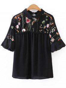 Voile Panel Floral Embroidered Blouse - Black L