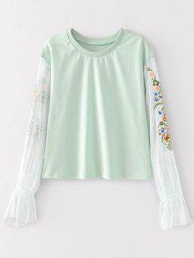 Mesh Panel Floral Embroidered Top - Light Green M