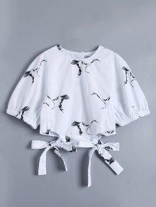Chinese Painting Crane Knot Side Blouse - White L