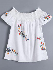 Off Shoulder Flower Embroidered Smocked Top - White M