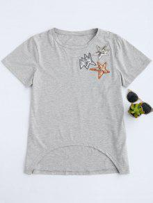 Dip Hem Sequined Star T-Shirt - Gray S