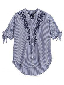 Hollow Out Embroidered Striped Shirt - Blue Stripe L
