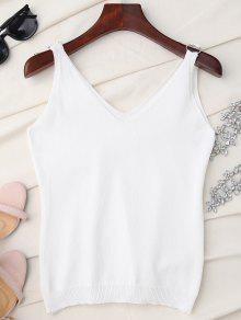 V Neck Metal Circle Knit Tank Top - White