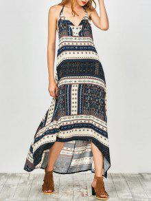 Printed Halter High Low Dress - Cadetblue L